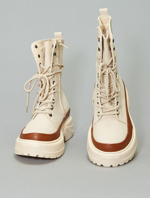 Bottines en toile                             beige