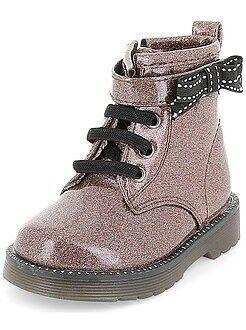 Chaussures, chaussons - Bottines esprit ranger en simili verni pailleté