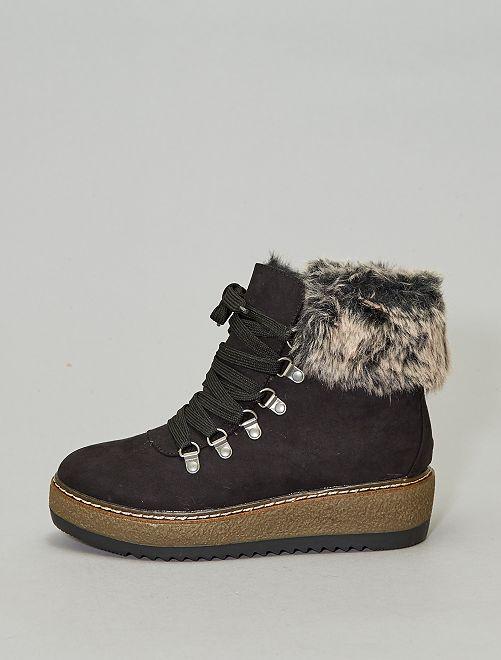Bottines fourrées esprit montagne                             noir Chaussures
