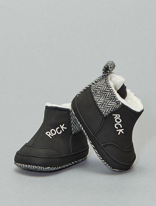Bottines fourrées 'rock'                             noir
