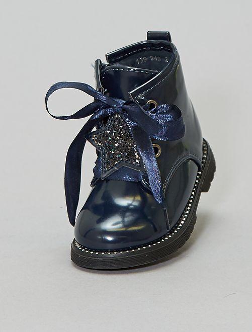 Bottines rangers étoile pailletée                             bleu marine Chaussures