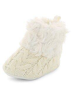 Chaussures, chaussons - Bottines tressées imitation fourrure