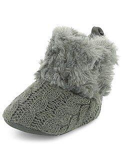 Chaussures bébé - Bottines tressées imitation fourrure