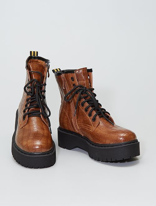 Bottines type rangers aspect 'serpent'                             camel