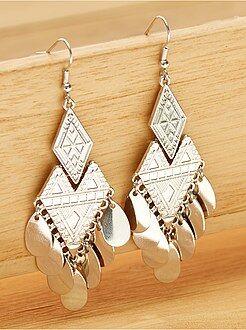 Bijoux - Boucle d'oreille pendantes en métal - Kiabi