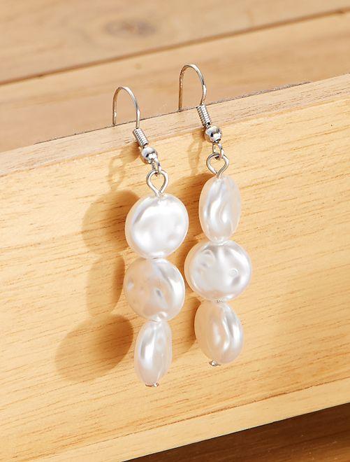 Boucles d'oreilles 3 perles                             blanc