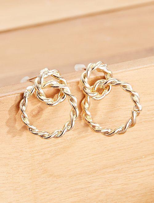 Boucles d'oreilles à double anneaux                             doré