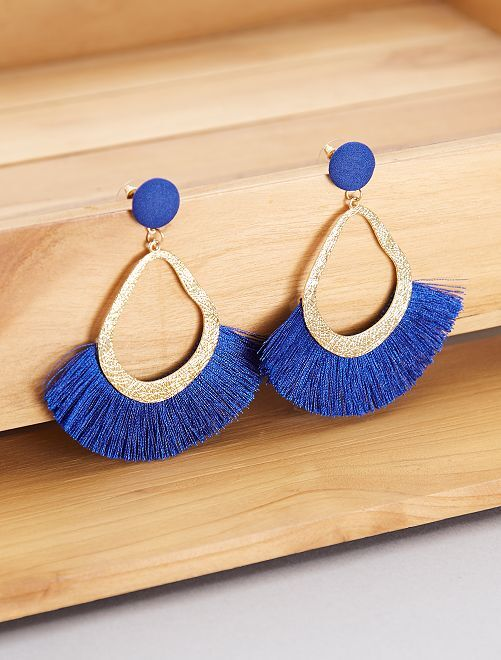 boucles d 39 oreilles franges femme bleu kiabi 4 00. Black Bedroom Furniture Sets. Home Design Ideas