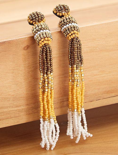 Boucles d'oreilles à perles                                         jaune