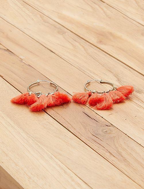 Boucles d'oreilles à pompons                                         corail Femme