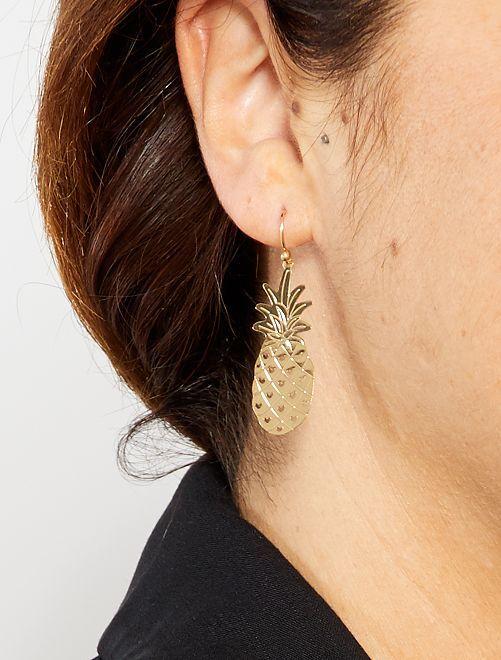 Boucles d'oreilles 'ananas'                             doré Femme