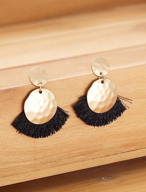 Boucles d'oreilles avec frange                             noir Femme