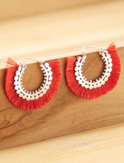 Boucles d'oreilles créoles à pompons                                                     rouge Femme