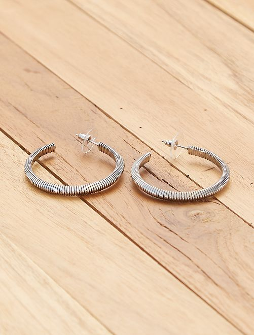 Boucles d'oreilles créoles                                         argenté