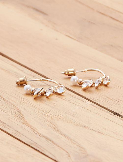 Boucles d'oreilles créoles avec perles                             doré