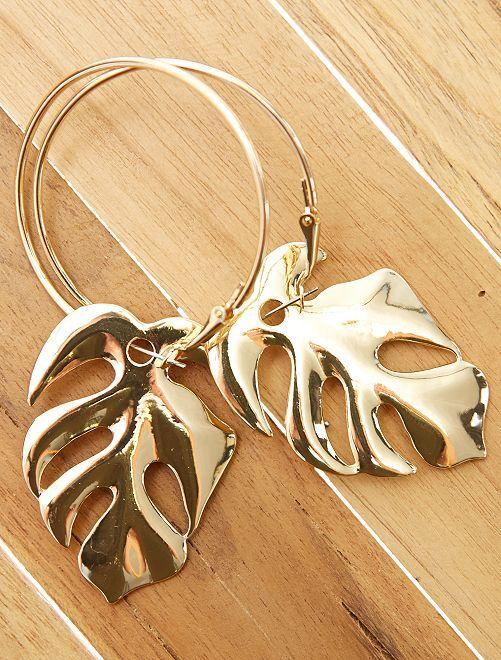 Boucles d'oreilles créoles feuilles                             doré Femme