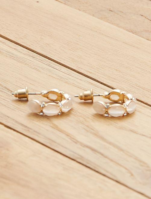 Boucles d'oreilles demi-créoles                                         beige