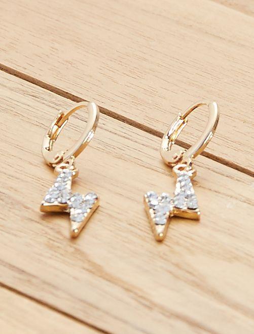 Boucles d'oreilles 'éclairs'                             doré