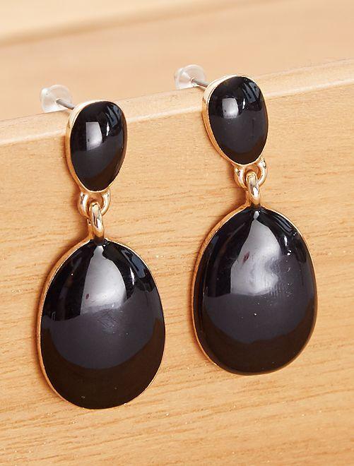 Boucles d'oreilles effet pierre                                         noir