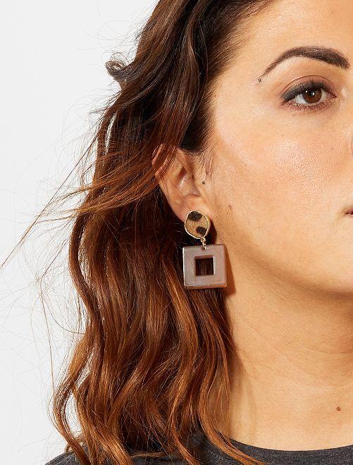 Boucles d'oreilles empiècement 'animal'                             marron Femme