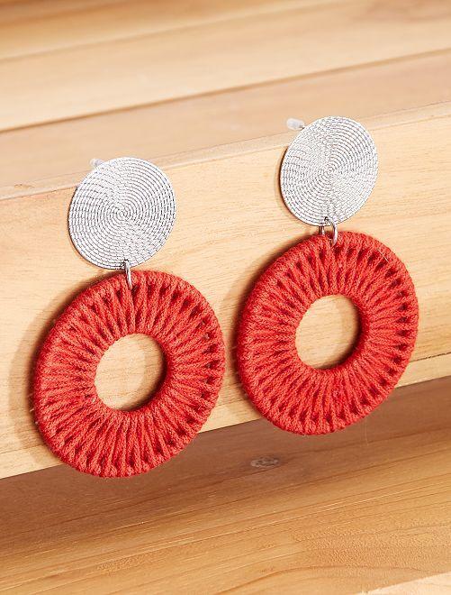 Boucles d'oreilles en corde                                         rouge