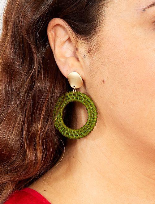 Boucles d'oreilles en osier                             kaki Femme