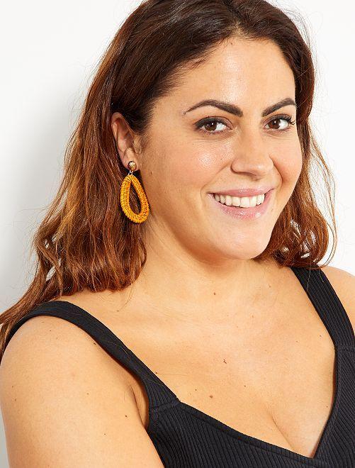 Boucles d'oreilles en osier                             moutarde Femme