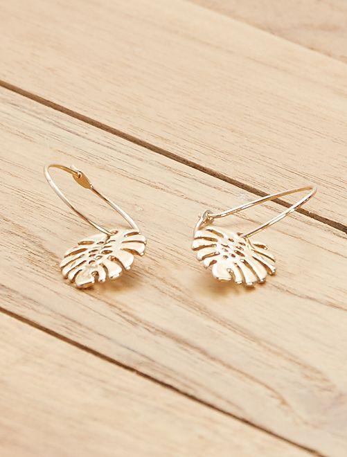 Boucles d'oreilles 'feuille'                             doré