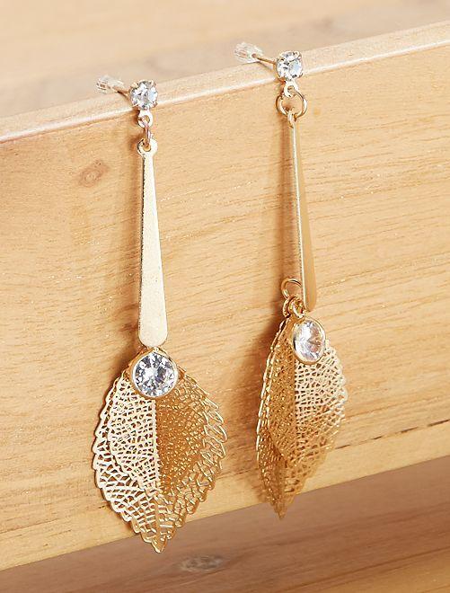 Boucles d'oreilles 'feuilles'                             doré
