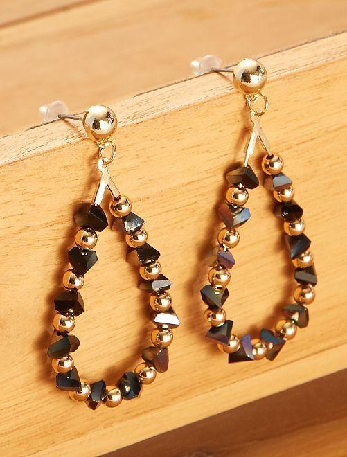 Boucles d'oreilles forme goutte pendantes                                         bleu marine/doré