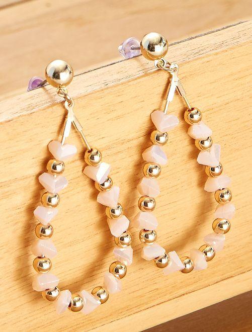 Boucles d'oreilles forme goutte pendantes                                         rose pâle/doré