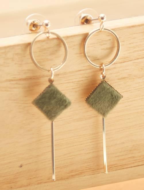Boucles d'oreilles géométriques détails                             vert/doré Femme