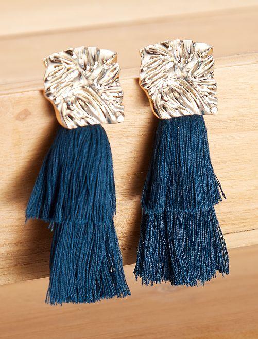 Boucles d'oreilles longues franges                                         bleu canard Femme