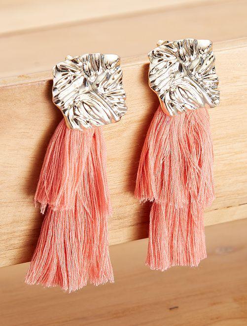 Boucles d'oreilles longues franges                                         rose Femme