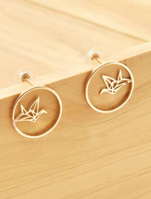 Boucles d'oreilles 'origami'                             doré