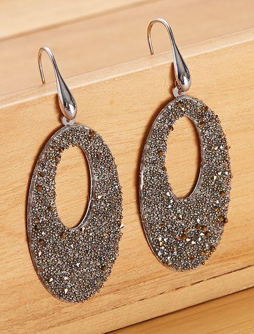 Boucles d'oreilles ovales pendantes                                 bronze