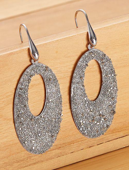 Boucles d'oreilles ovales pendantes                                                     GRIS