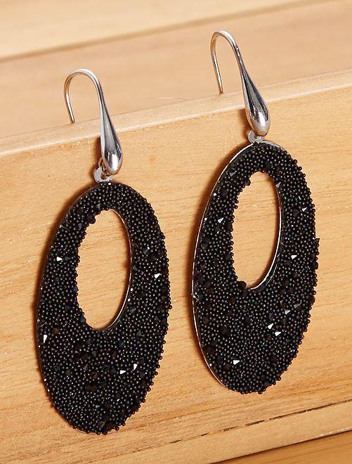 Boucles d'oreilles ovales pendantes                                                     noir
