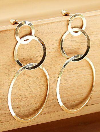 Femme du 34 au 48 - Boucles d'oreilles pendantes 3 cercles - Kiabi