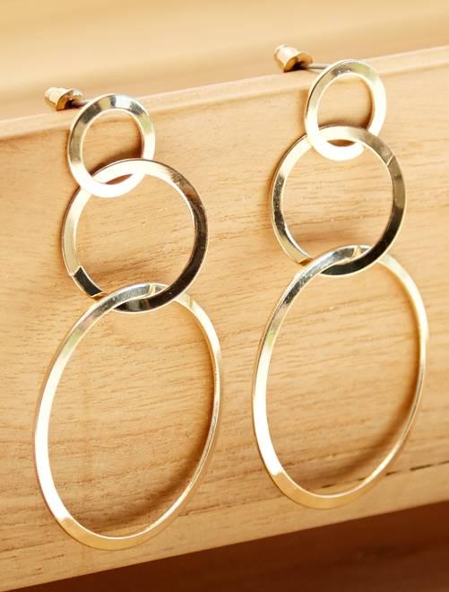 Boucles d'oreilles pendantes 3 cercles                             doré Femme
