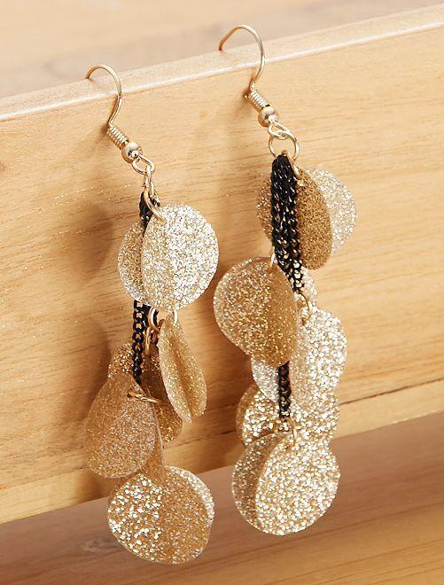 Boucles d'oreilles pendantes à paillettes                                         doré