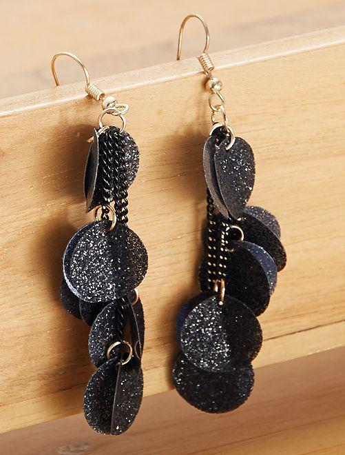 Boucles d'oreilles pendantes à paillettes                     noir