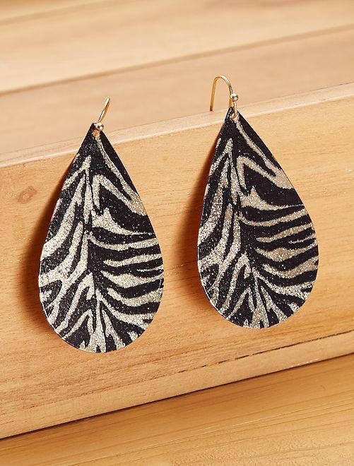 Boucles d'oreilles pendantes animal                             noir/doré