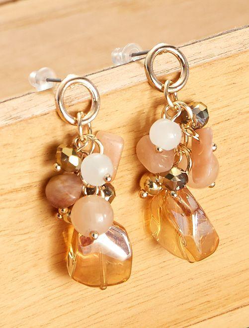 Boucles d'oreilles pendantes avec perles                             doré/rose