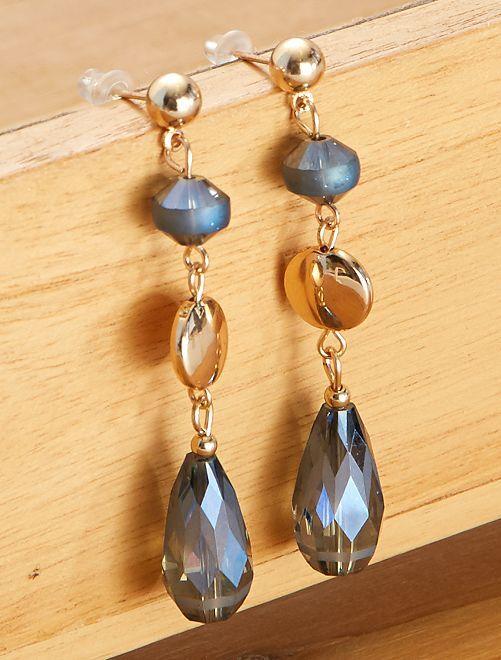 Boucles d'oreilles pendantes                             bleu/doré