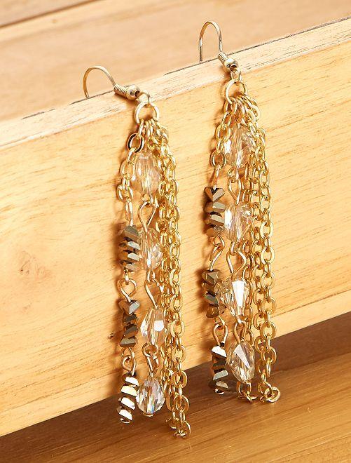 Boucles d'oreilles pendantes                             doré