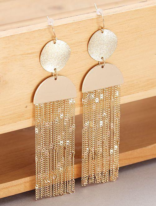 Boucles d'oreilles pendantes dorées                             doré Femme
