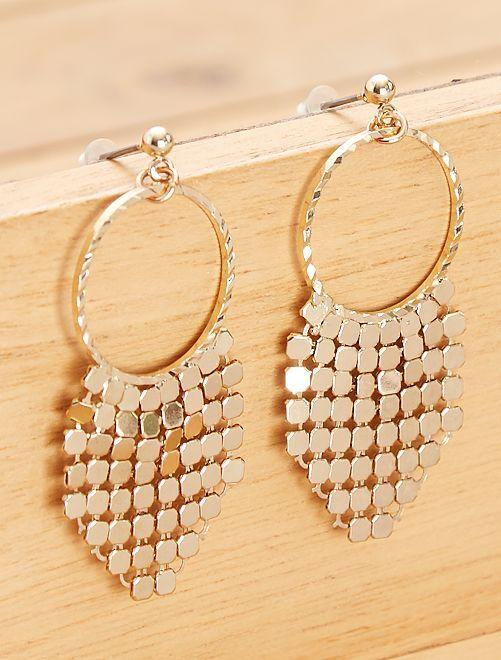 Boucles d'oreilles pendantes dorées                             doré