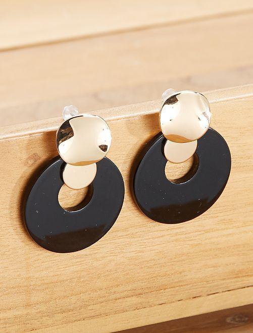 Boucles d'oreilles pendantes                             doré/noir