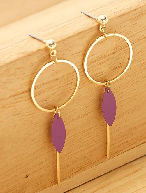 Boucles d'oreilles pendantes                             dore/rouge Femme